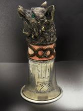 Russian silver enamel figural Wolf shot glass