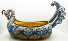 LARGE RUSSIAN SILVER ENAMEL ANIMAL KOVSH