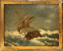19th C OIL PAINTING ON CANVAS SHIP IN ROUGH SEAS