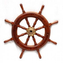 CARVED WOOD AND BRASS SHIP'S STEERING WHEEL