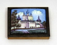 20th C RUSSIAN PORCELAIN PLAQUE WITH MINIATURE