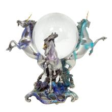 FRANKLIN MINT PEWTER & CRYSTAL UNICORN SCULPTURE