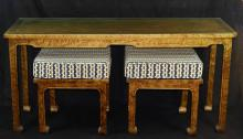 HOLLYWOOD REGENCY CONSOLE W/STOOLS