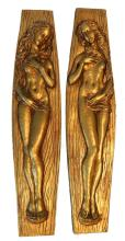 PAIR OF GILT CAST RESIN NUDE FEMALE PLAQUES