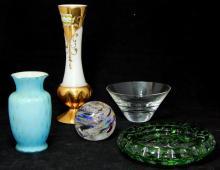LOT OF 5 GLASS ITEMS BOHEMIAN, KOSTA BODA