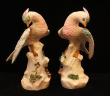 PAIR OF MEISSEN GERMANY FIGURAL BIRD SCULPTURES