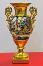 PAIR OF PARIS GOLD-GROUND TWO-HANDLED VASES