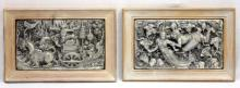 (2) THAI HIGH RELIEF PEWTER PLAQUES