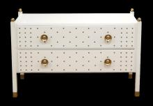 HOLLYWOOD REGENCY WHITE LACQUER CHEST