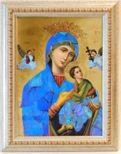 RUSSIAN MIXED MEDIA ICON OF MADONNA AND CHILD