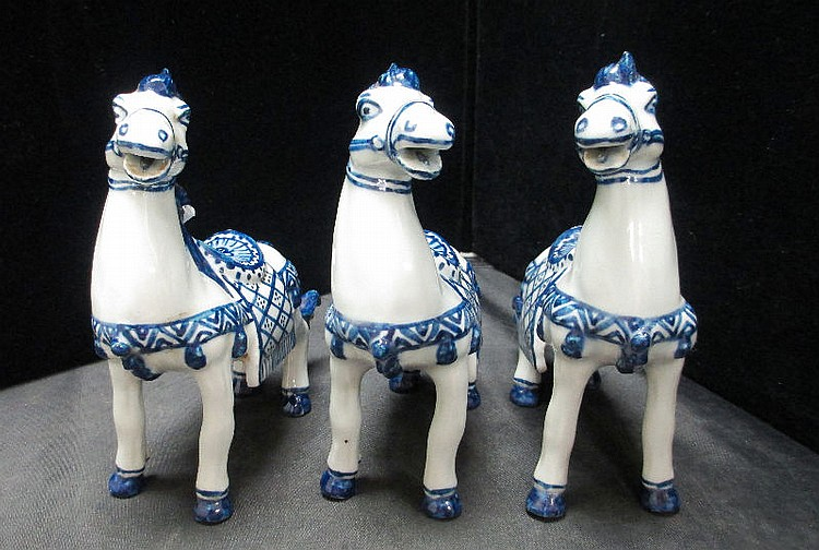 3 CHINESE BLUE AND WHITE PORCELAIN HORSES