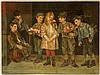 ANTIQUE AMERICAN OIL PAINTING ON CANVAS OF KIDS
