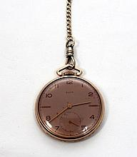 VINTAGE ELGIN 14K GOLD FILLED POCKET WATCH w FOB