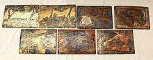 7 AMERICAN FOLK ART ENAMELED COPPER PLAQUES