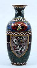 20th CHINESE CLOISONNE PHOENIX & DRAGONS VASE