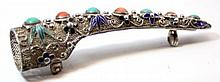 CHINESE FILIGREE INLAID SILVER FINGER CLAW BROOCH