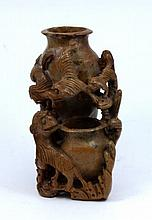 20th C CHINESE CARVED SHOUSHAN STONE FOO LION VASE