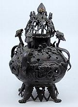 ANTIQUE INDIAN BRONZE TRIPOD DRAGONS CENSER