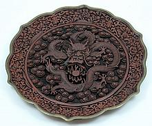 ANTIQUE CHINESE CINNABAR EXPORT DRAGON PLATE