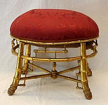19th CENTURY FRENCH GILT WOOD BAMBOO DESIGN STOOL