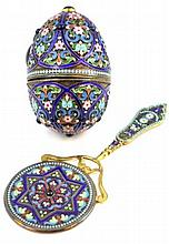 RUSSIAN ENAMELED SILVER EGG AND VANITY MIRROR