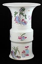 20th C CHINESE FAMILLE ROSE PORCELAIN ZUN VASE