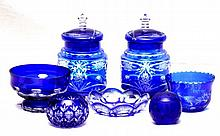 7 BOHEMIAN COBALT TO CLEAR CUT GLASS ITEMS