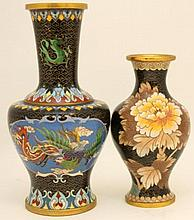 TWO CHINESE BLACK GROUND CLOISSONNE VASES