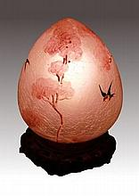 HANDEL HAND PAINTED GLASS EGG FORM LAMP