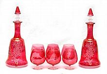 19pc CRANBERRY GLASS ITEMS, DECANTERS, STEMWARE