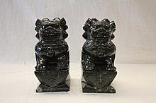 Pr LARGE 20th C CHINESE JADE FOO LION SCULPTRES