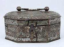 18th CENTURY CONTINENTAL SILVERED METAL HINGED BOX