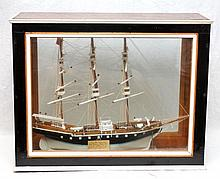 ANTIQUE WOODEN ENGLISH SCHOONER IN SHADOWBOX