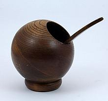 CHINESE HUANGHUALI WOODEN SERVING VESSEL w SPOON