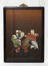 20th C CHINESE REVERSE PAINTING ON GLASS IN FRAME