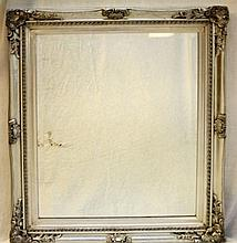 LATE 20th C SILVER FRAME BEVELED GLASS MIRROR