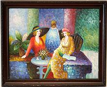 OIL ON CANVAS IN THE MANOR OF TARKAY SIGNED DENOZZ
