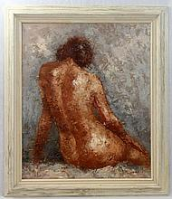 OIL ON CANVAS OF SEATED NUDE FEMALE SIGNED BARTON