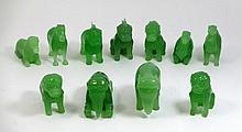 11 CHINESE GREEN JADE GLASS ANIMAL FIGURES w FRAME