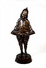 Mid 20th CENTURY BRONZE STANDING PIERROT SCULPTURE