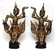 A PAIR OF LAOS CARVED JEWELED GILT WOOD FIGURES