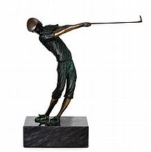 BRONZE GOLFER SCULPTURE ATTRIBUTED TO TOM BENNETT