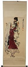 CHINESE WATER COLOR ON SILK DANCING COUPLE SCROLL