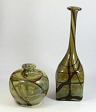 PAIR OF 2 HAND BLOWN HEAVY STUDIO GLASS VASES