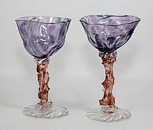 Pr OF HAND CRAFTED STUDIO ART GLASS GOBLETS SIGNED