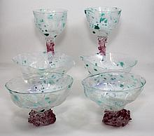 6pcs STUDIO ART GLASS GOBLETS & DESSERT SIGNED
