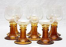 SET OF 8 MODERN AMBER BOHEMIAN GLASS GOBLETS