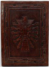 INCAN LEATHER WRAPPED WOODEN WALL PLAQUE