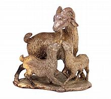 CHINESE SHOUSHAN GOAT ANIMAL GROUP SCULPTURE