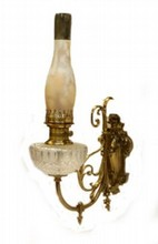 GILT BRONZE CUT GLASS CROLLED WALL SCONCE OIL LAMP